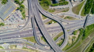 Aerial footage. Flying over road junction with clockwise rotate video