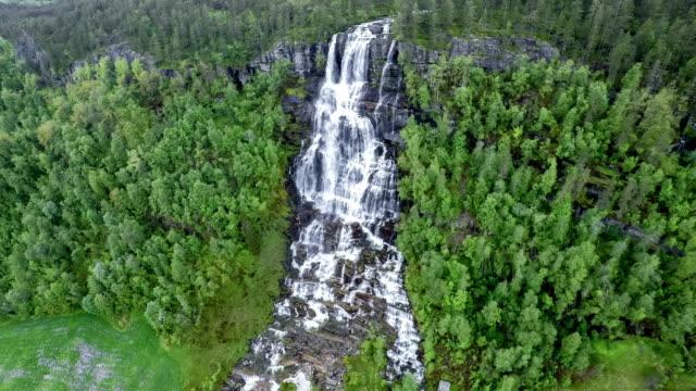 Aerial footage from Tvindefossen waterfall, Norway video