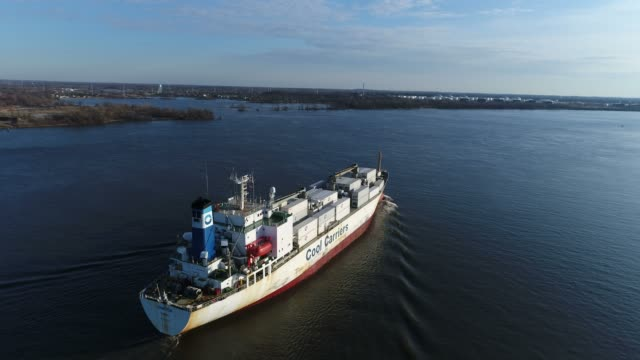 Aerial Footage of Cargo Ship on Delaware River Philadelphia PA video