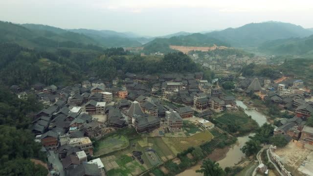 Aerial footage of Chengyang area of Sanjiang China video