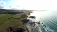 Aerial footage of coastline of Galicia - Beautiful beach in the north of Spain video