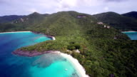 aerial footage of Denis Bay, St.John, US Virgin Islands video