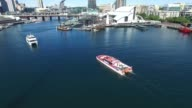 Aerial footage of Ferry in Darling Harbour Sydney video