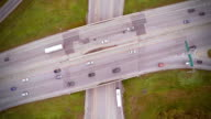 Aerial Footage of Highway and Overpass with cars and trucks video