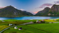 Aerial footage of idyllic nordic landscape at the Lofoten Islands in Norway video