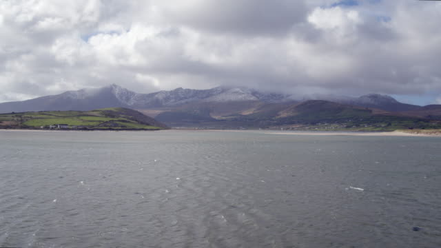 Aerial Footage Of Mountains And Sea Against Cloudy Sky video