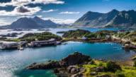 Aerial footage of picturesque coastline on the Lofoten Islands in Norway video