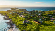 Aerial footage of small village on the Lofoten Islands in Norway video