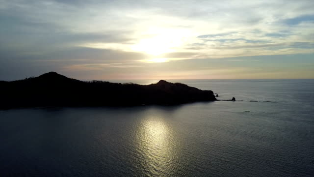 Aerial footage of sunset at the beach video