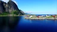 Aerial footage of village Hamnoya on Lofoten. video