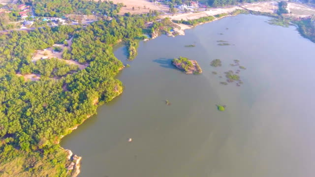 Aerial footage of water's edge in a lake at morning video