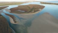 Aerial footage river murray mouth in coorong Australia video