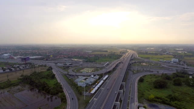 Aerial footage : Stacked highway with traffic and circle in Bangkok Thailand video