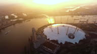 Aerial Footage Video Flying by London O2 Arena Concert Hall at Sunrise video