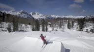 Aerial Freestyle skier doing the backflip in the snow park video