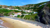 Aerial from Arifana on the west coast in Portugal video