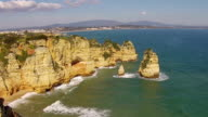 Aerial from natural rocks at Lagos Portugal video
