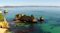 Aerial from natural rocks near Lagos in the Algarve Portugal video
