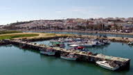 Aerial from the harbor from Lagos in Portugal video