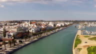 Aerial from the river and city Lagos in Portugal video