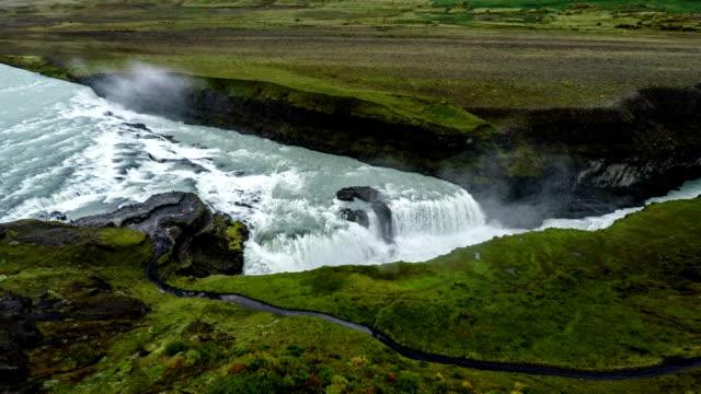Aerial Gullfoss Waterfall in Iceland video
