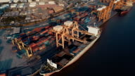 Aerial Harbor with cargo containers video