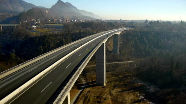 Aerial HD: Descent below Empty Highway Viaduct video