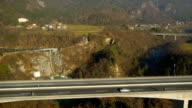 Aerial HD: Descent below Highway Viaduct video