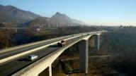 Aerial HD: Lift Tilt Down Over Viaduct Traffic video