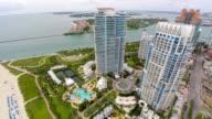 Aerial highrise Miami Beach architecture video