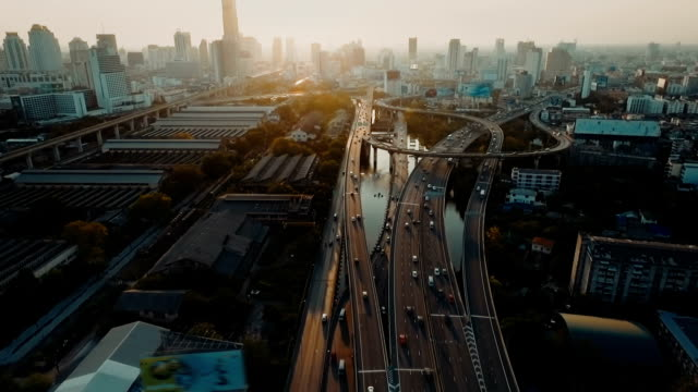 Aerial highway and traffic in Bangkok video