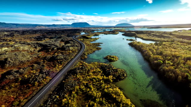 Aerial Iceland Landscape at Myvatn video