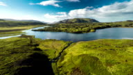 Aerial Icland Landscape with Lake - Snaefellsnes video