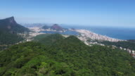 Aerial image from one of the biggest tourist destinations in the world, Christ the Redeemer in Rio do Janeiro, Brazil video