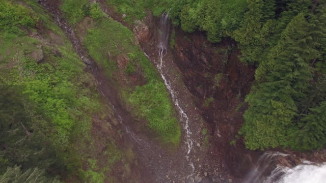 Aerial in Forest Canyon to Reveal Epic Waterfall video