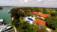 Aerial Indian Creek Mansions on the water video