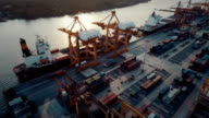 Aerial Industrial Container Terminal video