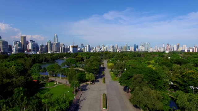Aerial: King Rama 5 Park in Bangkok. video