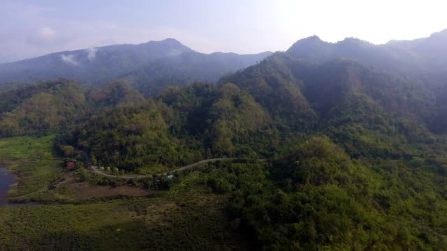 Aerial landscape view of Green Mountain with Tropical Forest video