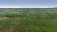 Aerial landscape view of the green fields in Cliffs of Moher video