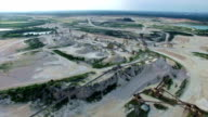 Aerial Limestone Extraction Open Pit Mine conveyor belts and extraction zones video