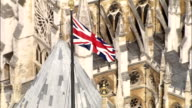 Aerial London - Union Flag on top of Houses of Parliament video