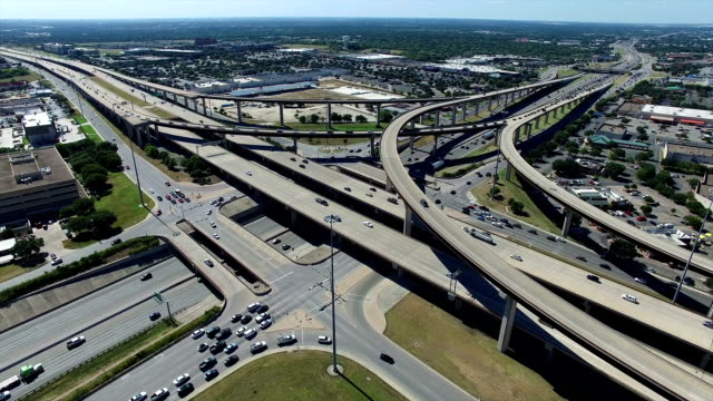 Aerial Looking down at Highways and Interchange in the Austin / Round Rock Texas Freeway System video