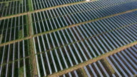 Aerial: Looking down on Solar Panels from above as the sunrises video