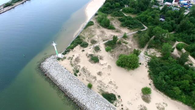 Aerial marine radar on sea river coast video