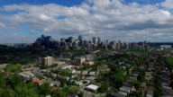 Aerial modern city surrounded by beautiful nature  Calgary Alberta Canada video
