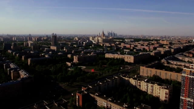 Aerial Moscow cityscape, Russia video