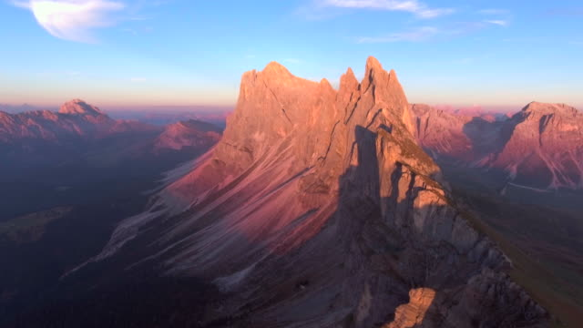 Aerial: Mountain at dusk video
