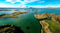 Aerial Myvatn Lake in Iceland video