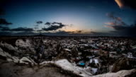 Aerial, night view of   Cappadocia video